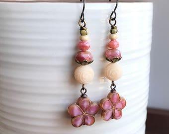 Rose Pink & Cream Stacked Earrings. Long Bohemian Earrings. Statement Earrings. Pink Czech Flower Earrings. Feminine, Pretty Floral Jewelry