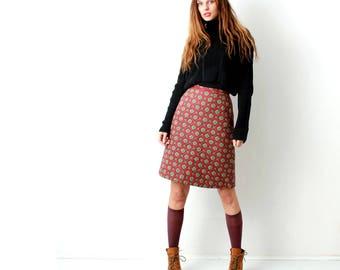 Vintage Boho Print Skirt / Bohemian Print Skirt / Oriental / Knee Length Skirt / High Waist Skirt / Size S