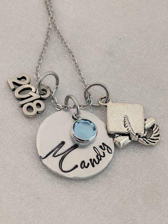 Graduate Gift-Personalized Graduation Necklace-Hand Stamped Jewelry-Class of 2018-Handmade Graduation Gift-Graduate Gift-Grad Gift-Name