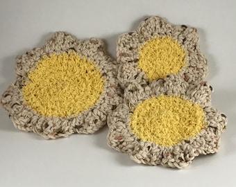 Three Piece Yellow and Beige Scrubby Set