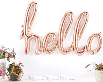"Hello Script Balloon in Rose Gold 30"" Foil Mylar Balloon"
