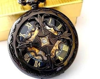 Personalized Groomsmen Gift Black Pocket Watch with Chains Engraved Wedding Groomsman Christmas Birthday Godfather Graduation Pocketwatch