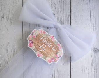 Wood Floral Bride to Be Sign - Wood Sign - Floral Bridal Shower - Bridal Shower Bow - Bachelorette Party Decor - Various Colors