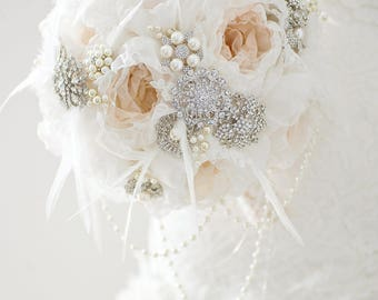 Custom Champagne Fabric Flower Bouquet, Silver Brooch Bouquet, Pearl Bridal Bouquet, Nude, Wedding Bouquet, Gatsby Wedding, Vintage11 inch