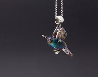 Bird Necklace, Glass Bird Pendant, Bird Lampwork, Rainbow Bird, Focal Glass Bead, Glass Bead Necklace, Pendant Bead