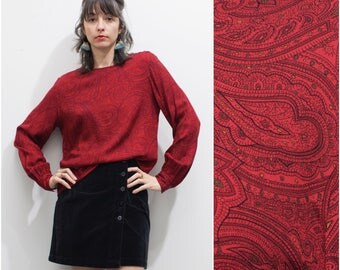 1980s 90s Red Paisley Blouse w Bishop Sleeves // Long Sleeve Liz Claiborne Secretary Blouse sz M / L