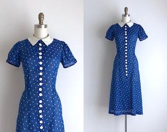 1930s Dress / Vintage 1930s Dress / Blue Cotton Day Dress