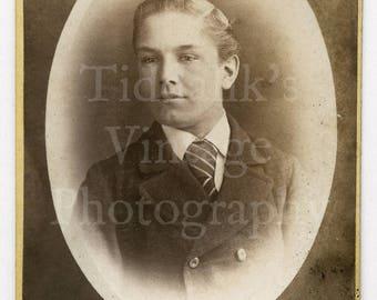 CDV Carte de Visite Photo Victorian Young Handsome Dapper Smart 16 Year old Boy Identified Big Striped School Tie 1875 - Antique Photograph