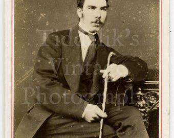 CDV Photo Victorian Young Handsome Mustached Dapper Man Holding a Cane - Kirkcudbright, Scotland - Carte de Visite Antique Photograph