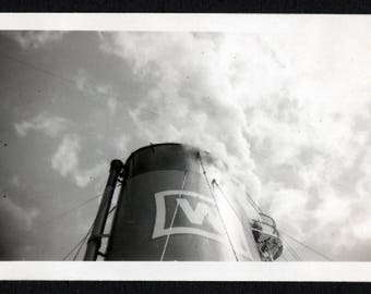 Vintage Snapshot Photo of Large Smokestack from Ship Letter W 1940's, Original Found Photo, Vernacular Photography