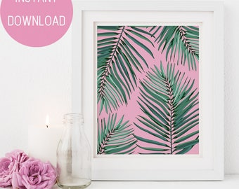 Wall Art Print, Palm Print Wall Art, Printable Leaf Palm, Gift For Her, Bathroom Wall Art, Palm Leaves Print, Palm Printable Art, Palm Print