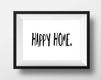 Happy Home Sign    Digital Print    Home Wall Decor Print    Farmhouse Decor
