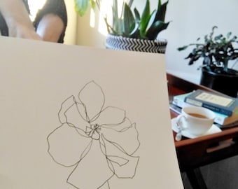 "ORIGINAL Botanical Drawing; Minimalist Flower Drawing; Abstract Flower Drawing; ""Blume"" Art Pen on 185g Canson Paper; 9 x 12 inches"