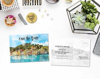 Digital Printable Set Save the Date Postcard Destination Wedding Portofino Italy Europe Watercolor Wedding Invitation Map Card ID842