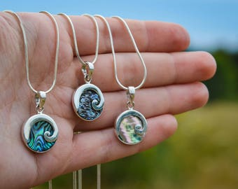 New! Sterling Silver Paua Shell Wave Necklace