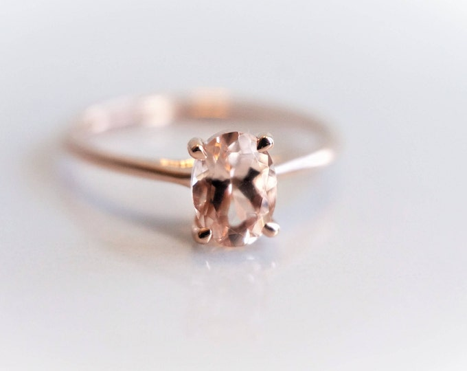 Classic Solitaire Peach Pink Morganite Oval 7 x 5 mm , Rose Gold Ring, 14K Gold, Morganite Engagement Ring