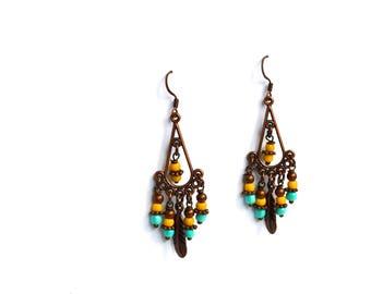 Tribal Earrings, Yellow Turquoise Earrings, Chandelier Earrings, Handmade Earrings, Gift Under 20 Dollar, Bohemian Earrings, Gypsy Earrings