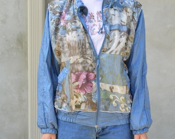 80s Funky Patterned Vintage Floral Bomber Jacket Windbreaker