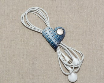 Blue Leather Earphone Organizer - Cable Organizer - Headphone Case - Headphone Holder - Cable Holder - Cord Organizer - Cord Holder