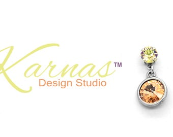 CHAMPAGNE BUBBLES 8MM/12MM Dangle Stud Earrings Made With Swarovski Crystal *Antique Silver *Karnas Design Studio *Free Shipping*