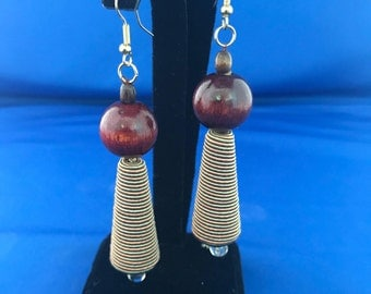 Unusual mixed media hanging earrings for pierced ears