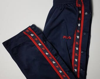 Vintage 90s Fila Tear Away Pants / Fila Jogging Tearaway Track Pants 1990s Retro Throwback Hip Hop FREE SHIPPING