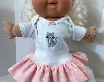 "Cabbage Patch 14 inch BABY or 14 inch Doll Clothes, Adorable ""KITTY CAT"" and Pink Polka Dot Ruffle & Lace Trim Dress, 14 inch Cabbage Patch"