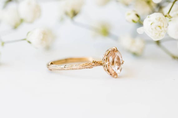 Morganite 14k gold classic engagement ring, solitaire morganite engagement ring, vintage inspired twig engagement ring