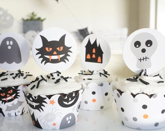 CREEP IT REAL. Fast Shipping - Halloween Cupcake Toppers & Wrappers - Set of 24