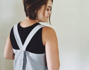 Adult Cross-Back Pinafore Apron | Linen Apron | Gardening Smock | Japanese Utility Apron | Cooking Apron | Linen Square Apron | Garden Apron