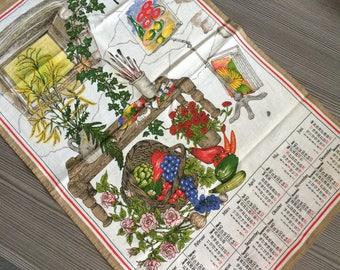 Vintage Tea Towel Country Kitchen Linen Calender 1991 Painter Painting Workshop