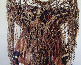 Summer scarf fringe/wrap/Crochet triangle scarf/fringe/women/cover-up/sparkle lovers' knot stitch/ladder ribbon scarf/brown caramel  sparkle