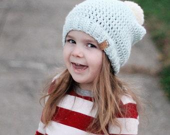 Girls Crochet Hat, Slouchy Beanie, Crochet Beanie, Crochet Hat, Knit Beanie, Knit Pom Pom Hat, Fur Pom Hat, Crochet Slouchy Hat, Baby Hat