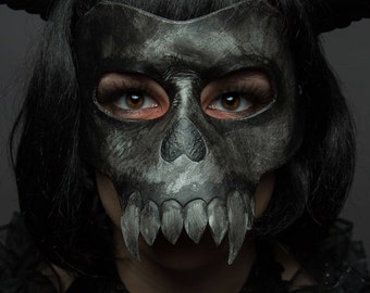 Leather Skull Mask - black bone fang design - demon, grim reaper