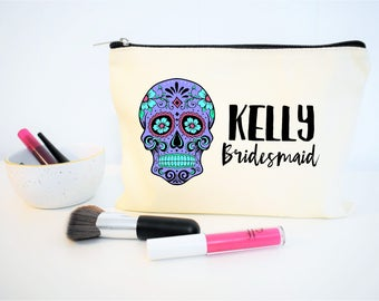 Sugar Skull, Day of the Dead, Sugar Skull Bridesmaid Gift, Sugar Skull Wedding, Mexican Wedding, Gift for Bridesmaid, Sugar Skull Makeup Bag