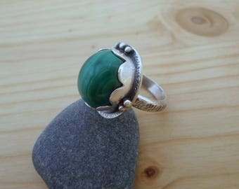 Malachite sterling silver ring, silversmith jewelry, gemstone silver ring, malachite jewelry, artisan silver ring, woodland jewelry