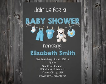 Clothesline Baby Shower Chalkboard Invitation