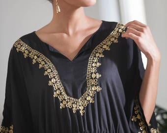 Black and Gold Kaftan Dress, Woman's Black Moroccan Maxi Caftan Dress, Gold Embroidery, Evening Long Ethnic Caftan, Hippie Abaya Dress