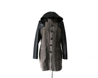 Suede Leather Parka Coat Black Gray Womens  Anorak Jacket Coat Hooded XL Size