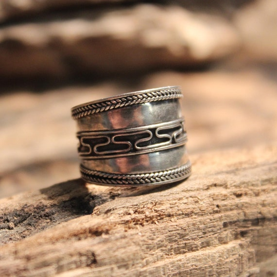 Mens Ring Vintage Mens Rings Vintage Sterling Silver  Band Mens Ring 3.5 Grams Size 7 Mens large Silver Ring Mens Jewelry Mens Vintage Ring