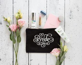 Bride Makeup Bag , Bride Gift , Personalized Wedding Gift , Bridal Shower Gift , Makeup Bag , Wedding Gift , Bridal makeup Bag, Bridal Gift