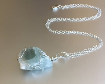 Small Aquamarine Necklace, March Birthstone, Raw Crystal, Sterling Silver, Healing Stone, Bohemian Jewelry