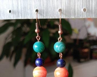 Pearl Earrings natural Agate and Lapis Lazuli