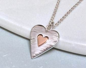 Handmade sterling silver heart necklace, hammered, silver and copper, anniversary gift for wife