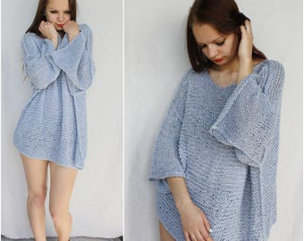 Slouchy sweater Knitting summer sweater Loose Knit Oversized Off shoulder Beach sweater Boho grunge Net sweater Cotton beach cover up Blue