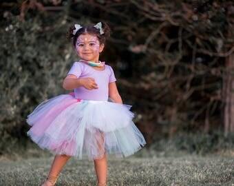 Fairy inspired hi low tutu, Halloween tutu, photography prop, full tutu, coral lavender mint white glitter silver tutu, NB-3T