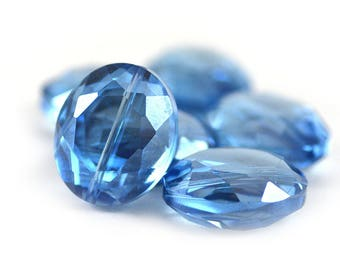 Chinese Crystal Large Faceted Oval Beads Pale Sapphire Blue Transparent Six (6) Pieces - 25x20x10 mm