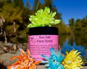 Himalayan Sea Salt Face Scrub-Raw, Organic, Vegan. Top skin care herbs, Collagen boosting Squalane, Antioxidants, vitamins, minerals.