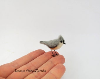 Felted Tufted Titmice, Felted bird,  miniature birds, tiny birds,, tit miniature, bird miniature, birds for doll house, Grey-crested Titmice