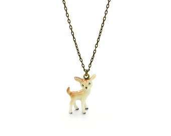 Tiny Deer Fawn Charm Necklace, Hand Sculpted/Painted Figurine, Ceramic Animal Pendant & Chain ()